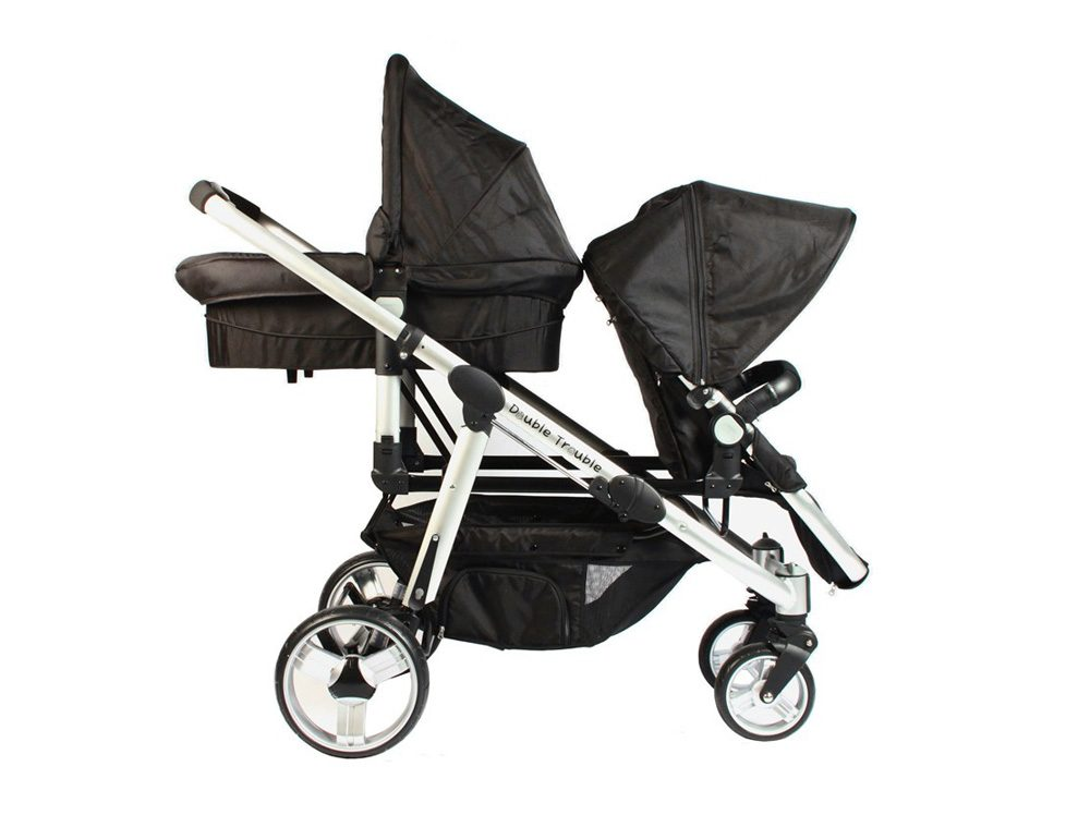 Double Trouble twin pram and carry cot in black