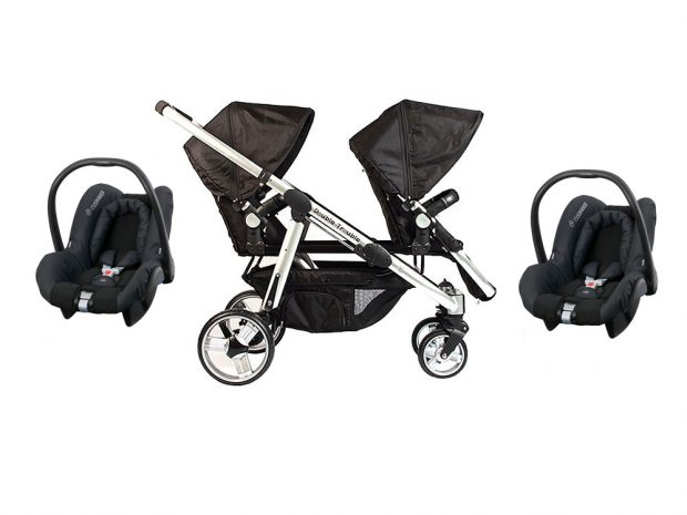 Twin pram with two Citi car seats