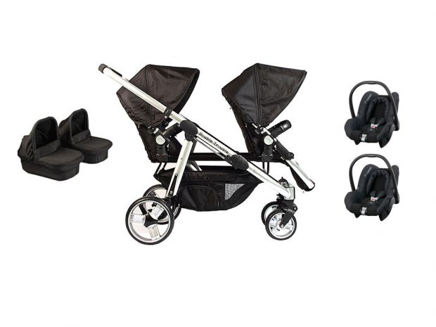Twin pram including the citi car seats and carry cots