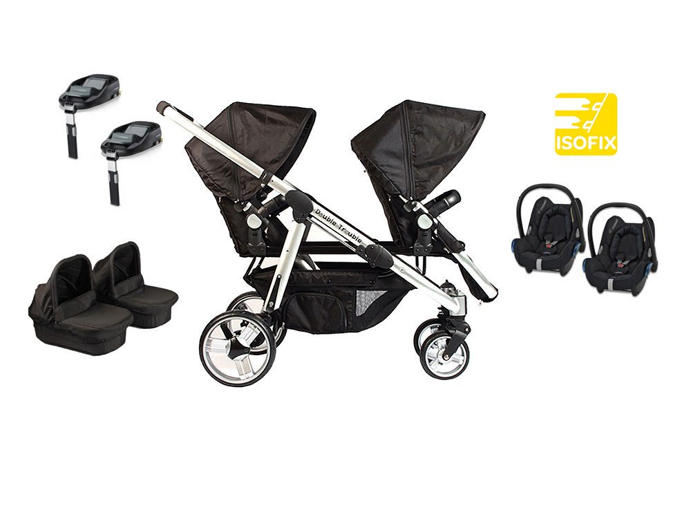 Double Delux twin travel system with Cabriofix and FamilyFix