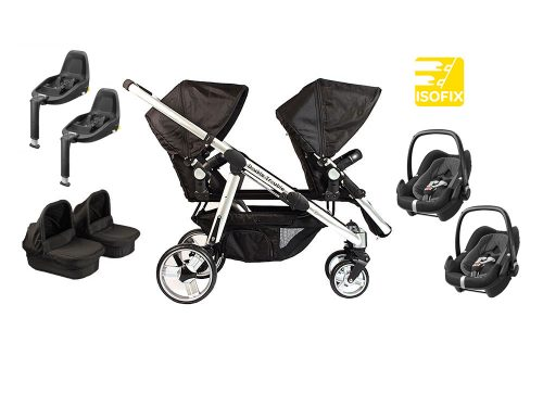 Twin pram with two pebbleplus car seats, two carry cots and two 2WayFix bases