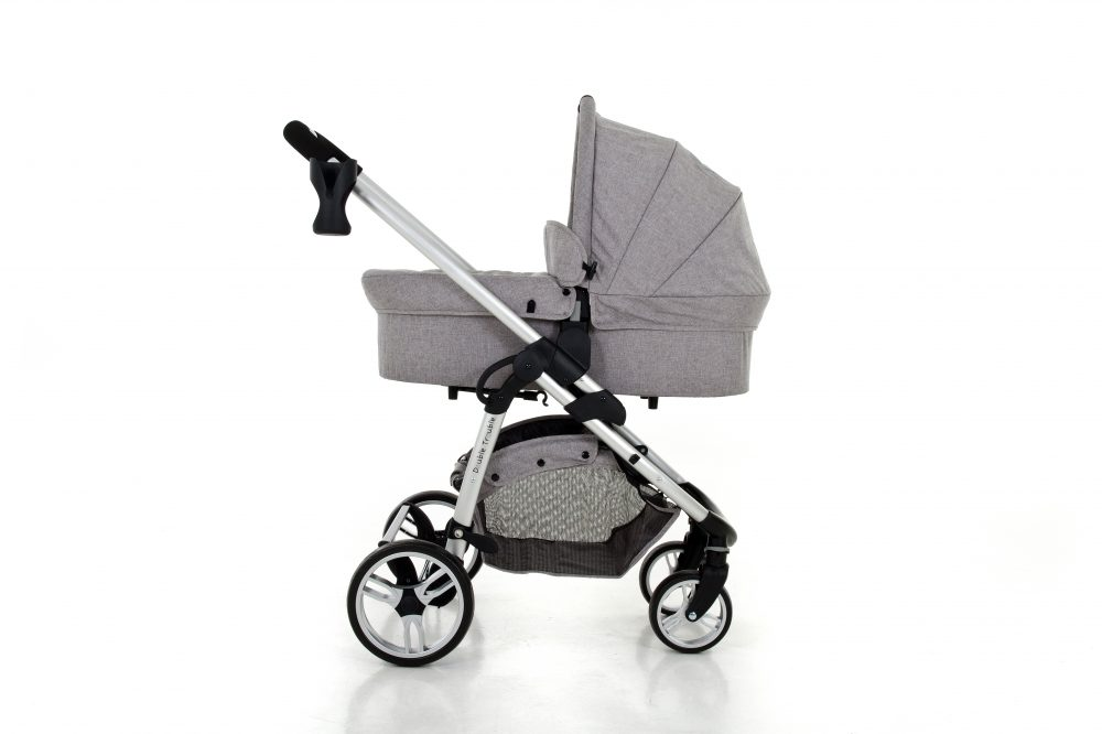 Double Trouble Single pram with carry cot in grey melange