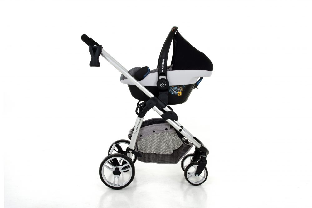 Double Trouble Single Pram with Pebbleplus in nomad grey