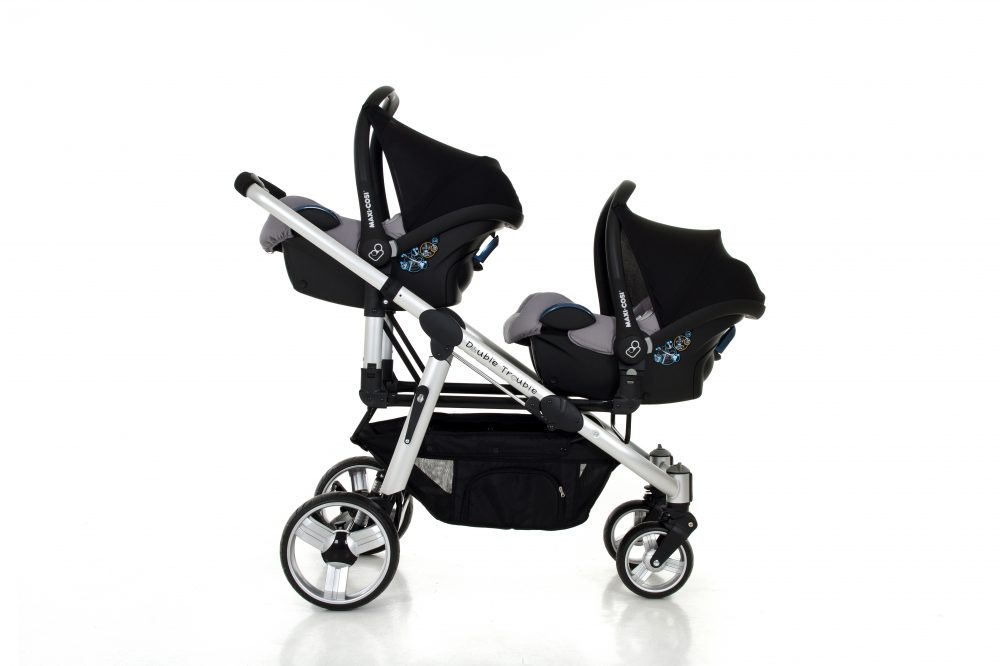 Twin travel system with two baby car seats