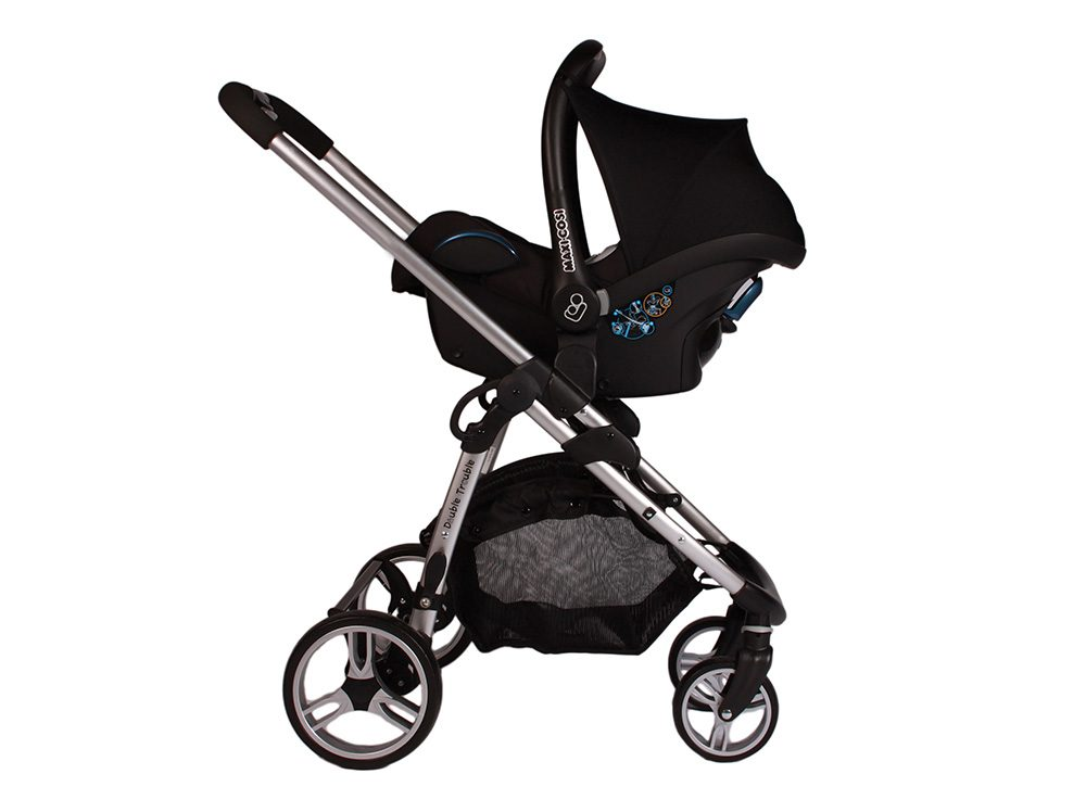 Double Trouble Single Pram in black with car seat