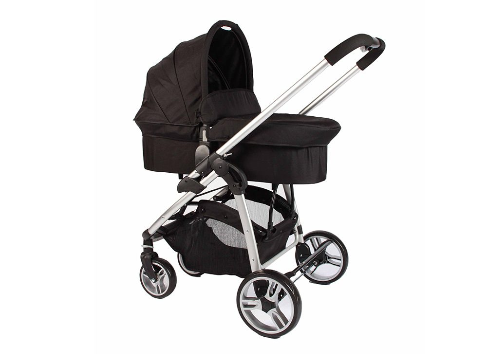 Double Trouble Single Pram with carry cot in black