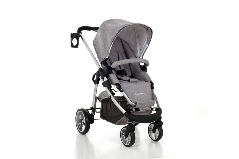 Double Trouble Single Pram Grey Melange