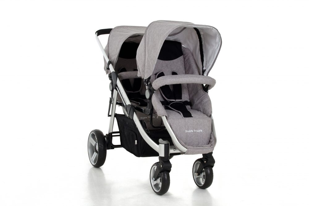 Twin pram in grey melange